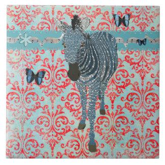 Borboletas de Boho & azulejo azuis da zebra