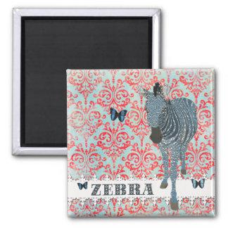 Borboletas de Boho & ímã azuis da zebra Ímã Quadrado