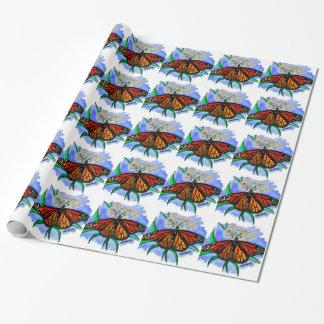 Borboletas de monarca papel de presente