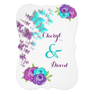 Borboletas do roxo e da cerceta e flores lunáticas convites personalizado