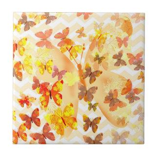 Borboletas do vôo do marrom amarelo das borboletas azulejo de cerâmica