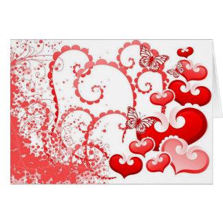 borboletas dos corações e de COM do imagem Cartão Comemorativo