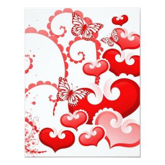 borboletas dos corações e de COM do imagem Convite 10.79 X 13.97cm