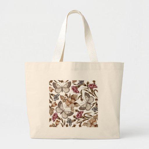 borboletas e flores de COM do padrão Bolsa Para Compras