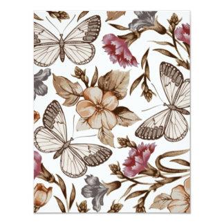 borboletas e flores de COM do padrão Convite Personalizado