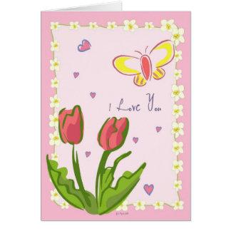 """Borboletas e flores """"eu te amo"""" cartão"""