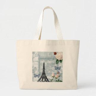 Borboletas e rosas franceses do vintage sacola tote jumbo