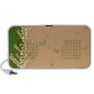 Borboletas esverdeados e auto-falante floral branc caixinha de som para iPod