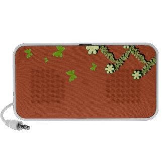 Borboletas esverdeados e auto-falante floral caixinha de som de viagem