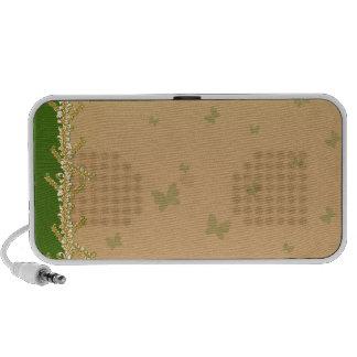 Borboletas esverdeados e auto-falante floral caixinha de som para notebook