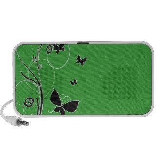 Borboletas esverdeados escuras caixinha de som para iPod