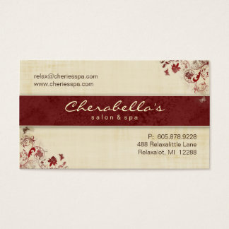 Borboletas florais C vermelho do cartão de visita