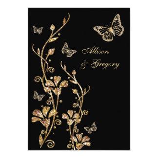 Borboletas florais do ouro preto que Wedding o Convite 12.7 X 17.78cm