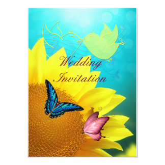 Borboletas no convite do casamento do girassol