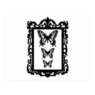 borboletas pretas na moldura para retrato do cartão postal