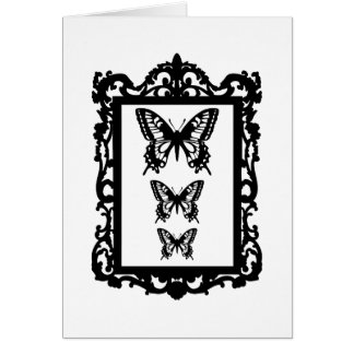 borboletas pretas na moldura para retrato do vinta cartão comemorativo