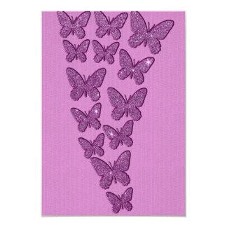 Borboletas roxas do brilho de Lavendar Convite 8.89 X 12.7cm