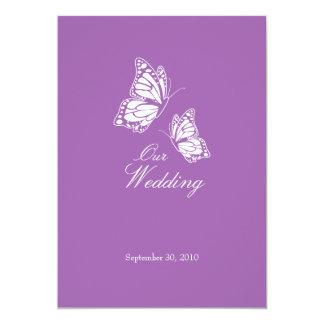 Borboletas violetas simples que Wedding o anúncio Convite 12.7 X 17.78cm
