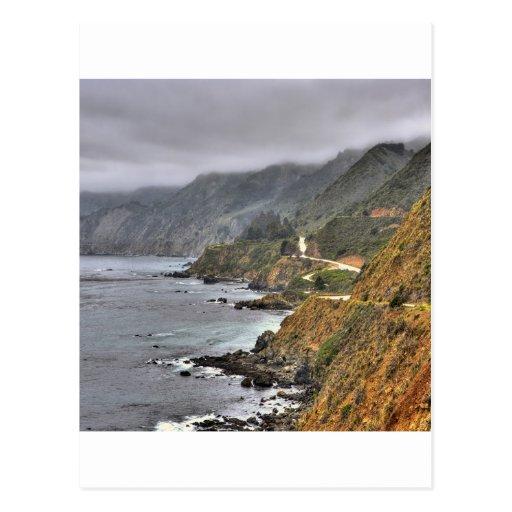 Borda da estrada espanhola da costa da água cartoes postais