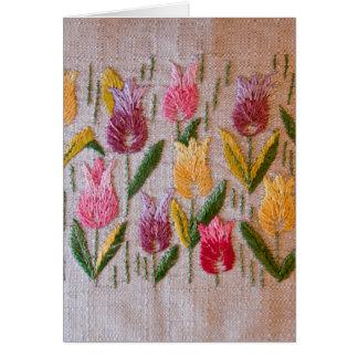 Bordado do vintage das tulipas cartão