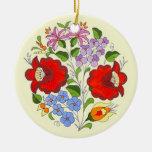 Bordado húngaro da flor do OPUS Ornamento De Cerâmica Redondo