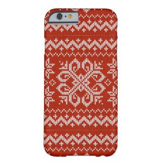 Bordado vermelho do feriado capa barely there para iPhone 6