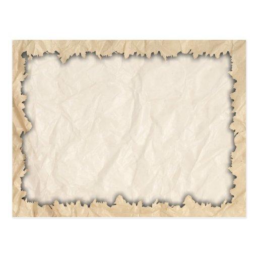 Bordas queimadas no papel da dobra cartao postal