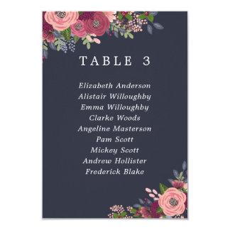 Borgonha & cora cartão do plano da mesa das flores convite 8.89 x 12.7cm