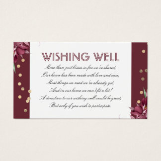 Borgonha que deseja confetes bons florais e do cartão de visitas