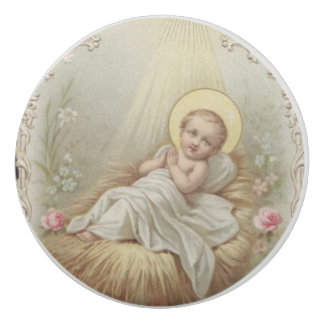 Borracha Bebê infantil Jesus em flores do comedoiro