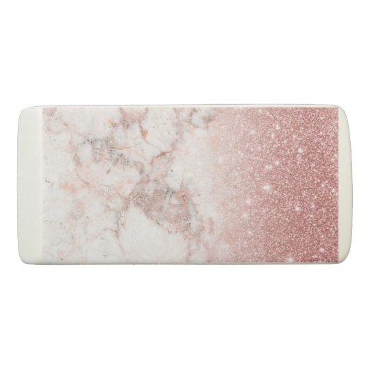Borracha Brilho cor-de-rosa Ombre de mármore branco do ouro