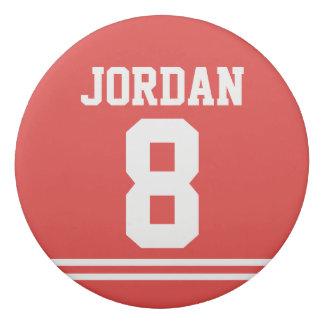 Borracha Jérsei vermelho do futebol com nome e número
