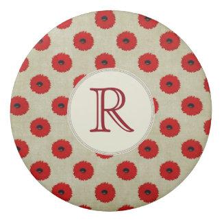 Borracha Teste padrão de flores vermelho rústico