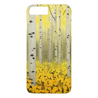Bosque de Aspen na capa de telefone do amarelo da