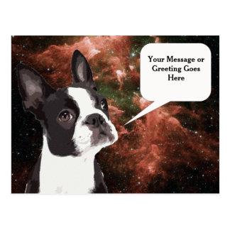Boston Terrier no cartão do espaço