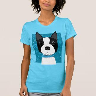 Boston Terrier no inverno Camiseta