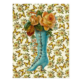Bota floral do vintage cartão postal