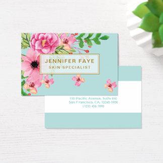 Botânico orgânico moderno do buquê floral de cartão de visitas