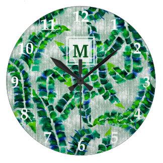 Botânico verde pintado à mão do monograma da folha relógio grande