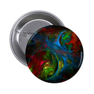 Botão azul da arte abstracta da génese (redondo) bóton redondo 5.08cm
