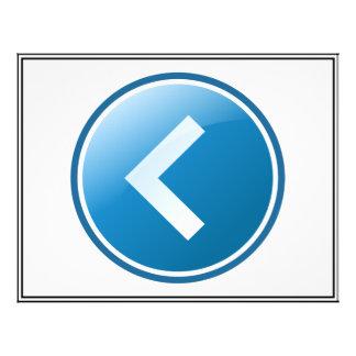 Botão azul da seta - deixado panfleto personalizados
