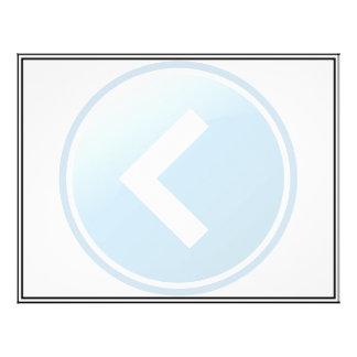 Botão azul da seta - deixado panfletos