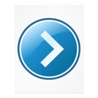 Botão azul da seta - direito panfleto personalizado