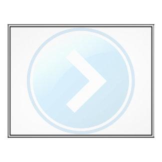 Botão azul da seta - direito panfletos personalizados