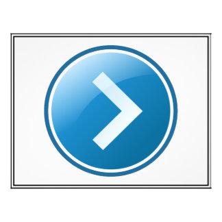 Botão azul da seta - direito modelos de panfleto