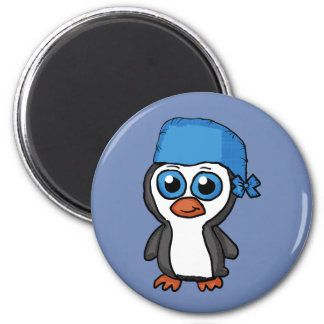 Botão azul do pinguim do Bandana Imã