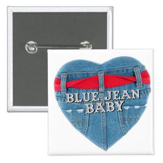 Botão azul do quadrado do bebê de Jean Pins