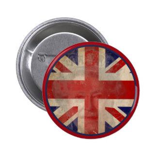 Botão BRITÂNICO sujo da bandeira com rainha Elizab Bóton Redondo 5.08cm