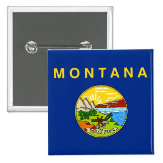 Botão com a bandeira de Montana Bóton Quadrado 5.08cm