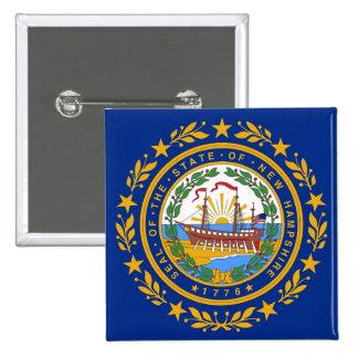 Botão com a bandeira de New Hampshire Bóton Quadrado 5.08cm